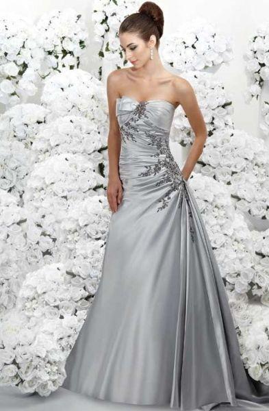 Фото серебристых свадебных платьев