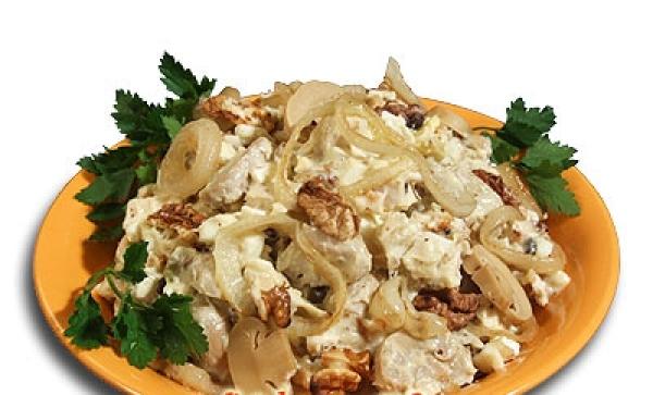 простой рецепт салата курицы с грибами рецепт