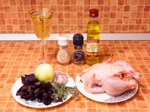 Цыпленок в белом вине